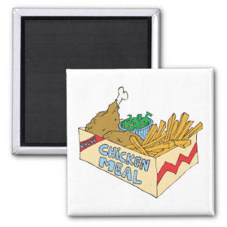 chicken value meal in a box 2 inch square magnet