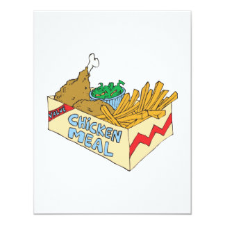 chicken value meal in a box 4.25x5.5 paper invitation card