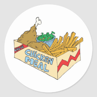chicken value meal in a box classic round sticker