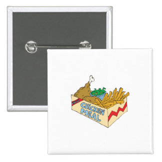 chicken value meal in a box pinback button