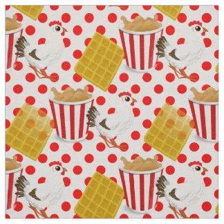 chicken waffles fabric
