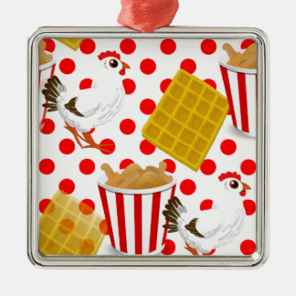 chicken waffles square metal christmas ornament