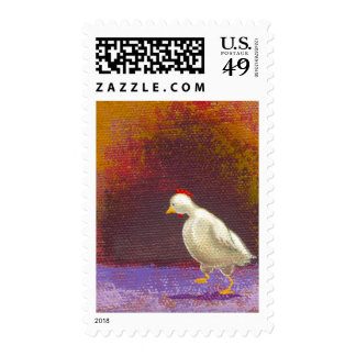 Chicken walking thinking fun unique colorful art postage