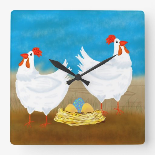 Chicken Wall Clock With Two Hens and Eggs