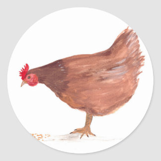 Chicken watercolor painting hen art classic round sticker
