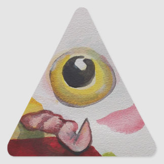 Chicken With A Worm Triangle Sticker