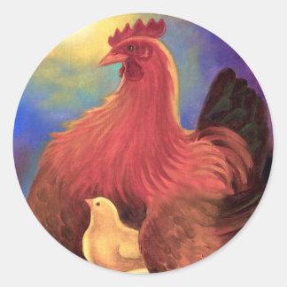 Chicken with Chick Farm Art - Multi Classic Round Sticker
