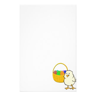 Chicken with Easter Basket of Eggs Stationery