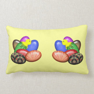 Chicken with Easter Eggs #1 Lumbar Pillow
