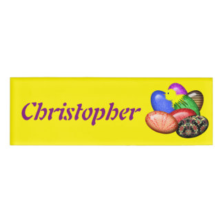 Chicken with Easter Eggs #1 Name Tag
