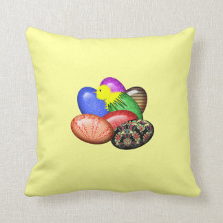 Chicken with Easter Eggs #1 Throw Pillow