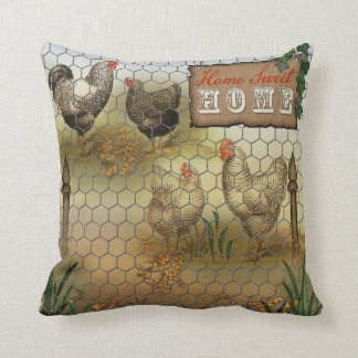 Chicken Yard Home Sweet Home Vintage Throw Pillow