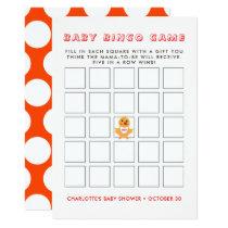 Chicken Yellow Chick Baby Shower Bingo Game Card