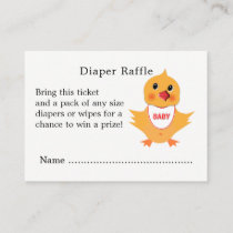 Chicken Yellow Chick Baby Shower Diaper Raffle Enclosure Card