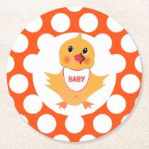 Chicken Yellow Chick Baby Shower Diaper Raffle Round Paper Coaster