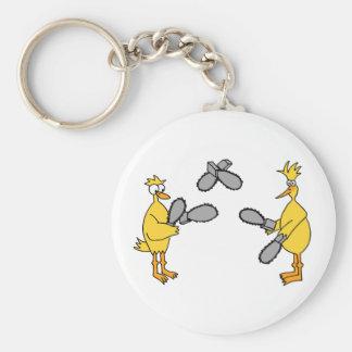 Chickens and Chainsaws Basic Round Button Keychain