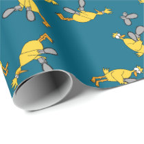 Chickens and Chainsaws Blue Wrapping Paper