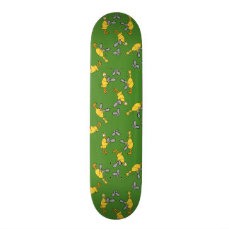 Chickens and Chainsaws Green Skateboard Deck