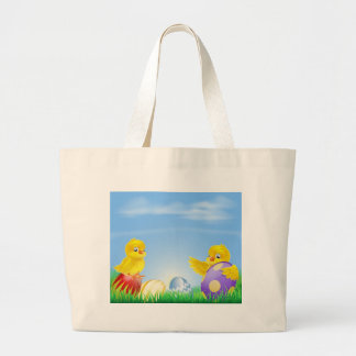 Chickens and Easter eggs Background Bag