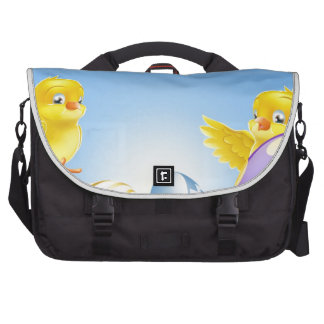 Chickens and Easter eggs Background Commuter Bag