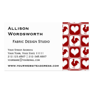 Chickens and Hearts Rooster Pattern Business Card Templates