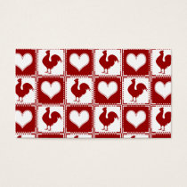 Chickens and Hearts Rooster Pattern Business Card