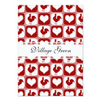 Chickens and Hearts Rooster Pattern Card