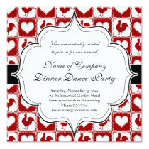 Chickens and Hearts Rooster Pattern Invitation