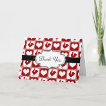 Chickens and Hearts Rooster Pattern Thank You Card