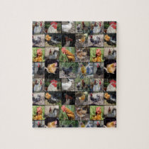 Chickens And Roosters Photo Collage, Jigsaw Puzzle
