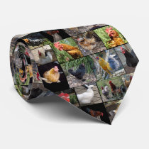 Chickens And Roosters Photo Collage, Neck Tie