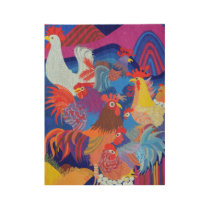 Chickens and Roosters Wood Poster