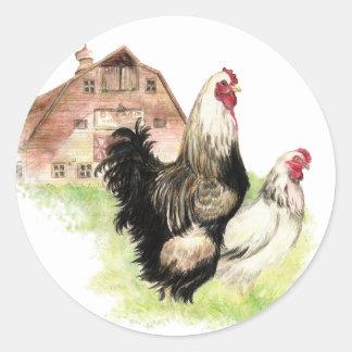 Chickens & Barn Farm Scene to Customize Classic Round Sticker