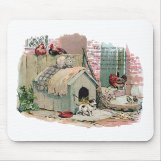 Chickens, Cat and Barking Dog Mousepad