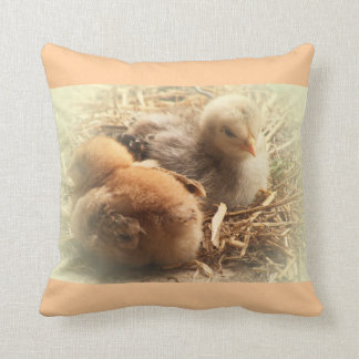 chickens chicks with more feather throw pillow