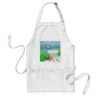 Chickens Crossing Road Funny Cartoon Adult Apron