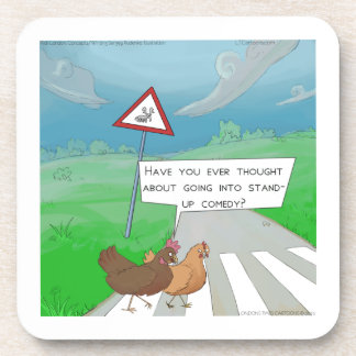 Chickens Crossing Road Funny Cartoon Drink Coaster