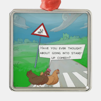 Chickens Crossing Road Funny Cartoon Metal Ornament