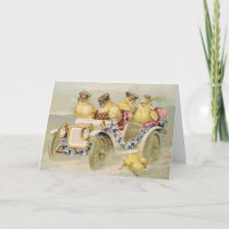 Chickens Driving Car - Vintage Easter Card