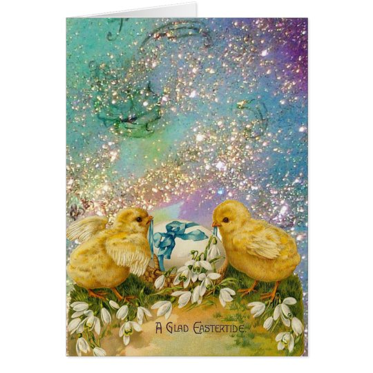 CHICKENS,FLOWERS ,EASTER EGG IN GOLD BLUE SPARKLES CARD