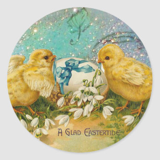 CHICKENS,FLOWERS ,EASTER EGG IN GOLD BLUE SPARKLES CLASSIC ROUND STICKER