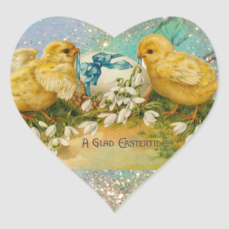 CHICKENS,FLOWERS ,EASTER EGG IN GOLD BLUE SPARKLES HEART STICKER