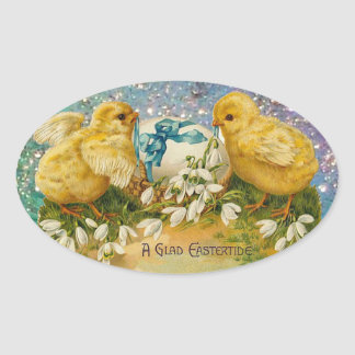 CHICKENS,FLOWERS ,EASTER EGG IN GOLD BLUE SPARKLES OVAL STICKER