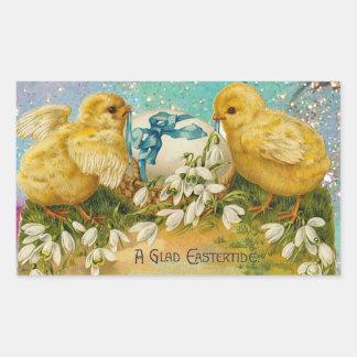CHICKENS,FLOWERS ,EASTER EGG IN GOLD BLUE SPARKLES RECTANGULAR STICKER