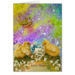 CHICKENS,FLOWERS EASTER EGG IN GOLD PURPLE SPARKLE CARD