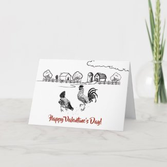 Chickens in LOVE Country Farm Valentine's Day Holiday Card