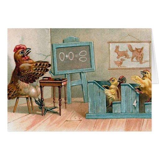 """Chickens in School"" Vintage Card"