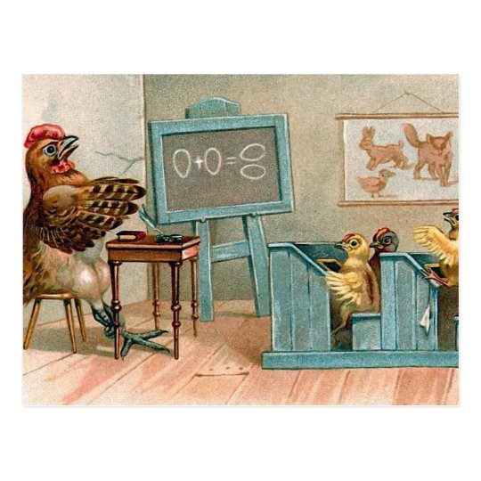 """Chickens in School"" Vintage Postcard"