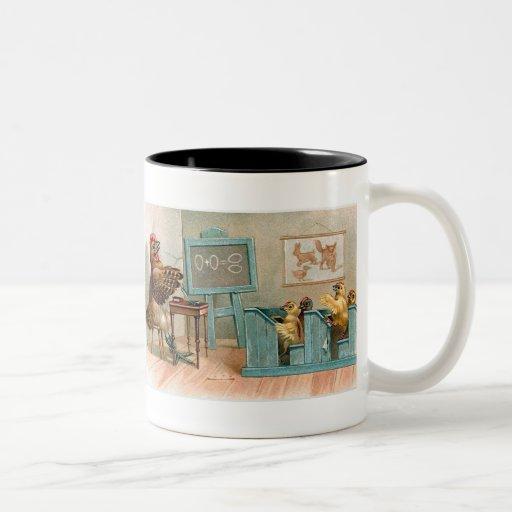 """Chickens in School"" Vintage Two-Tone Coffee Mug"
