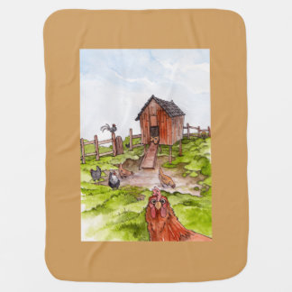 Chickens In The Backyard Baby Blanket